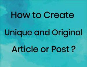 create unique article